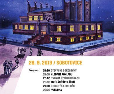 plakát zve na noc sokoloven v sokolovně v Sobotovicích