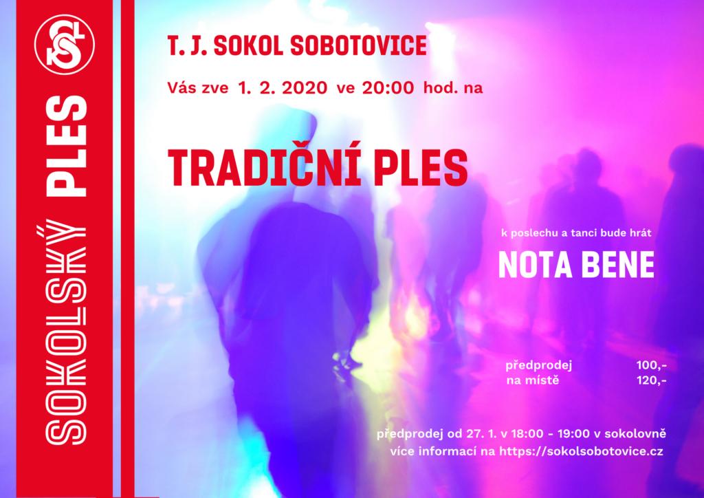 Plakát zve na tradiční sokolský ples v Sobotovicích 1. 2. 2020 ve 20:00