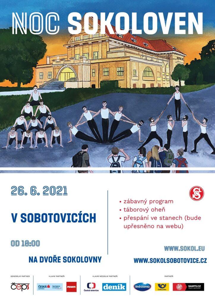 Plakát zve na akci Noc sokoloven do Sobotovic 26. 6. 2021