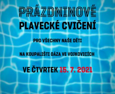 Pozvánka na prázdninové cvičení 15. 7. 2021 v bazénu Koupaliště města Židlochovice